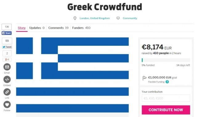 "A screenshot of the new Indiegogo campaign ""Greek Crowdfund."""