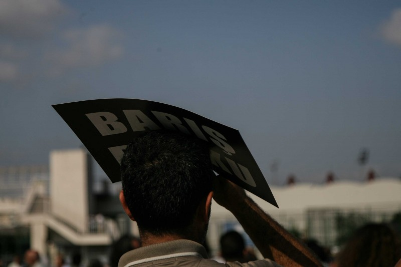 Demotix image. A peace meeting at Bakırköy in Istanbul on 9 August, 2015 drew thousands of supporters concerned by Turkey's attacks on PKK positions over the border. Photo by Avni Kantan. ID: 8285673.