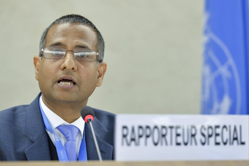 Ahmed Shaheed,  Special Rapporteur on the human rights situation in the Islamic Republic of Iran, present's his report at a the 28th Session at the Human Rights Council. 16 March 2015. UN Photo / Jean-Marc Ferré. CC BY-NC-ND 2.0