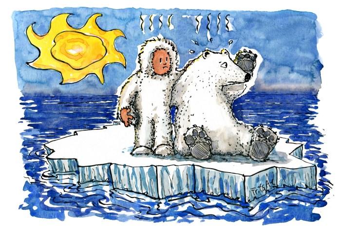 Drawing of a man and a polar bear on melting ice under a burning sun