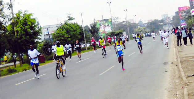 2011 Standard Chartered Bank Marathon Competitions along the highway.