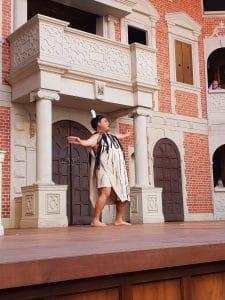 Titania in performance of Midsummer Nights dream at Popup Globe Sydney