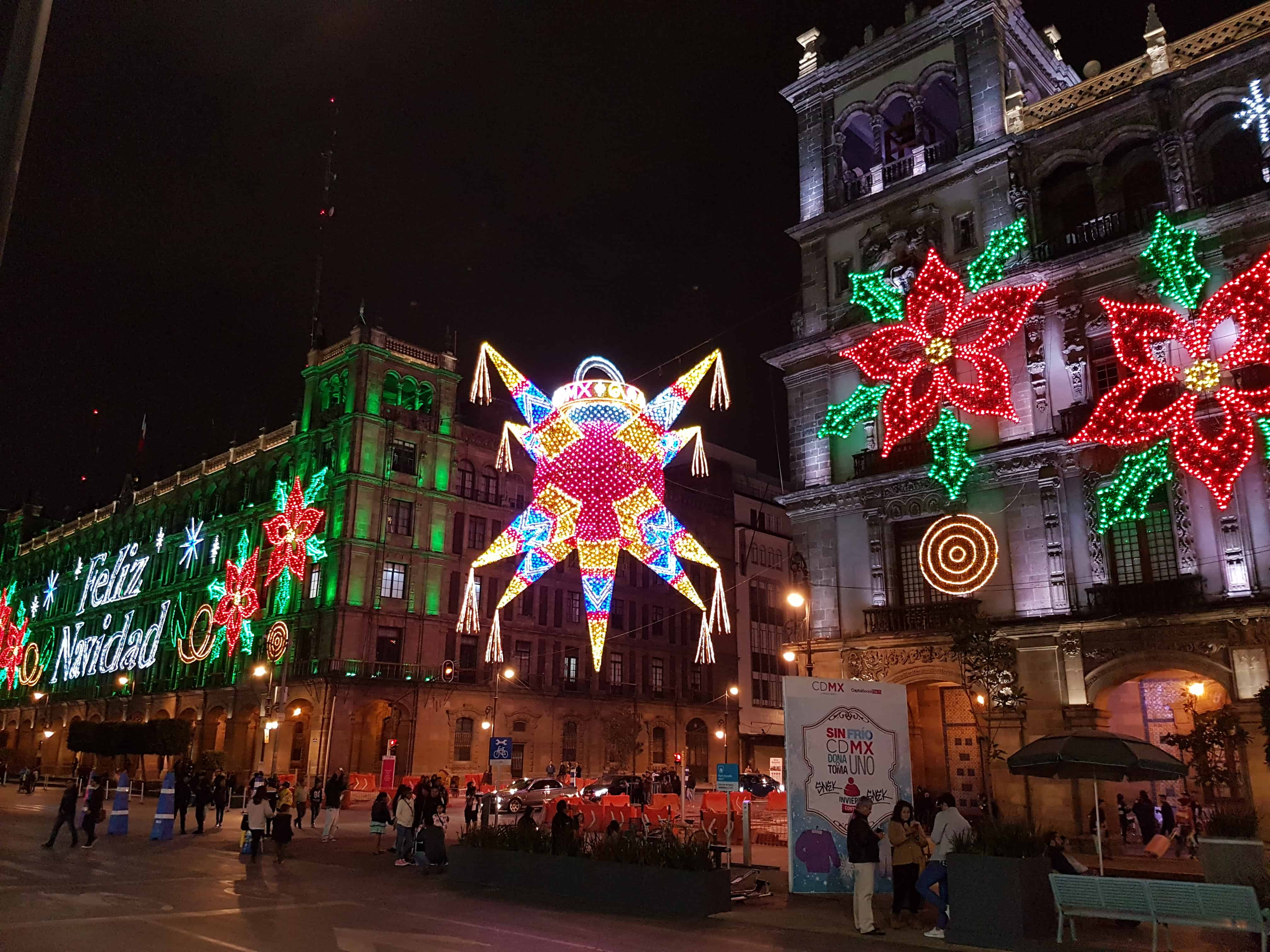 Christmas lights in Mexico City