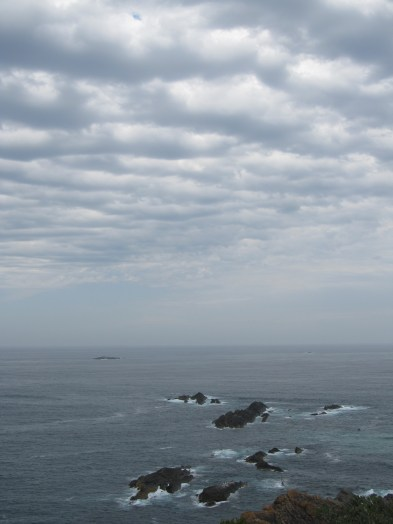 View from Seal Rocks lighthouse with a tiny speck of a whale