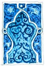 Aquarelle Ouzbékistan motif Khiva