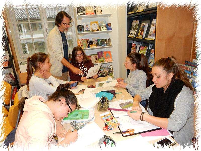 Atelier au CDI du lycée de Bazas (33) - 2016