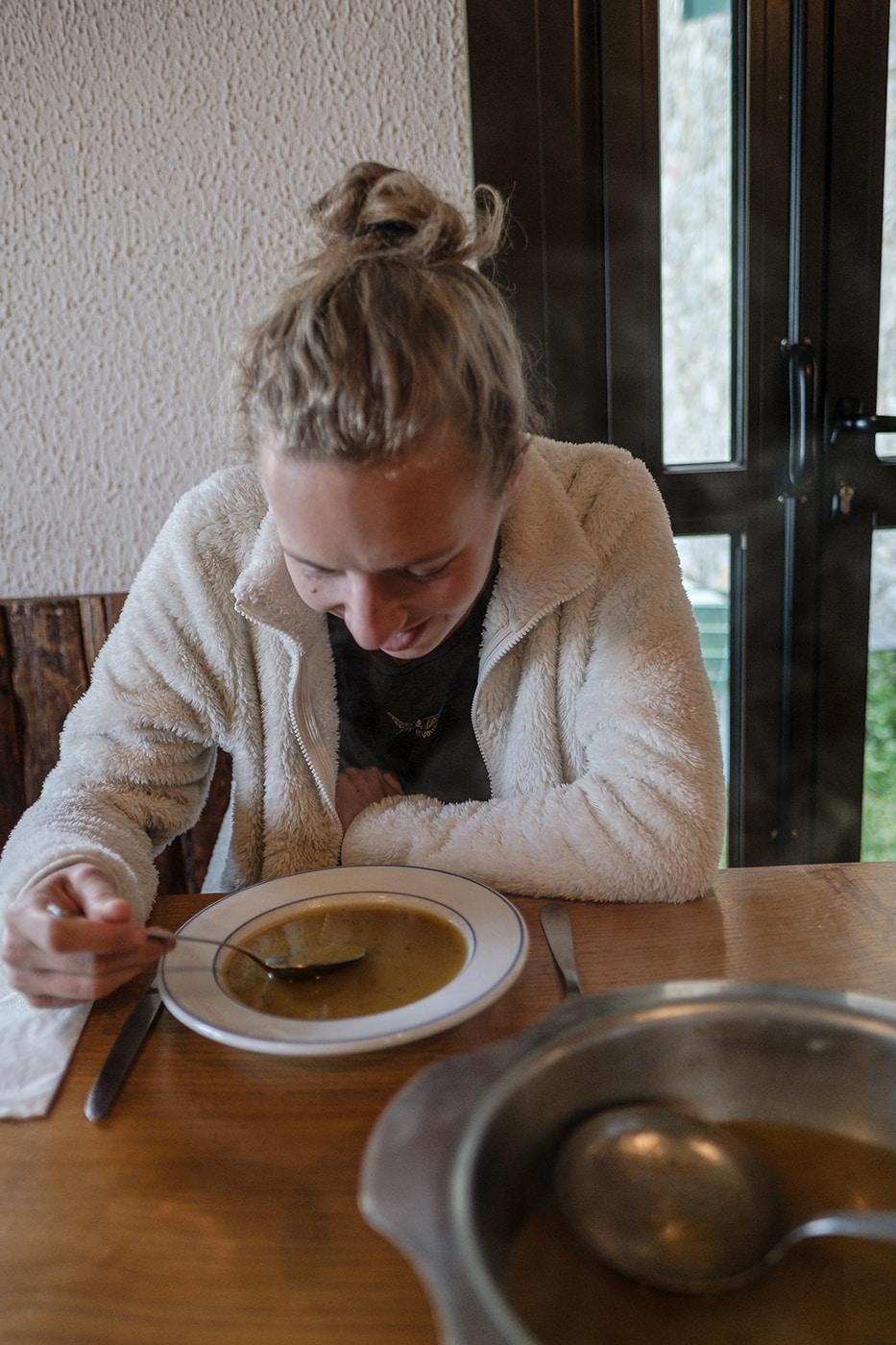 Soupe repas refuge Cortalets