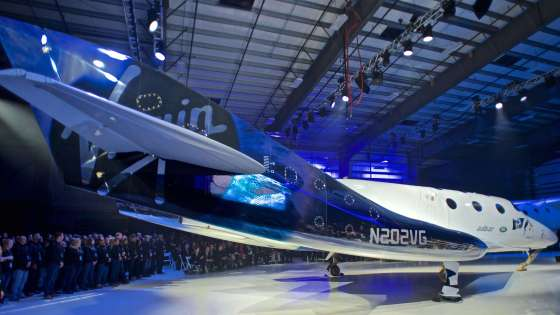 """SpaceShipTwo """"Unity"""" at rollout event on February 19, 2016 in the Virgin Galactic FAITH hangar in Mojave, California. (Image Credit: Wikimedia Commons/Ronrosano)"""