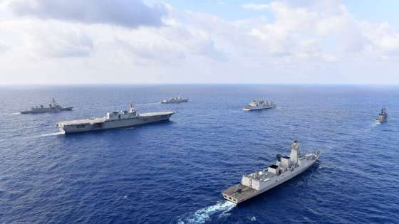 U.S. Navy guided-missile destroyer USS William P. Lawrence transits through international waters with the Indian Navy destroyer INS Kolkata and tanker INS Shakti, Japan Maritime Self-Defense Force helicopter-carrier JS Izumo and destroyer JS Murasame, and Republic of Philippine Navy patrol ship BRP Andres Bonifacio on May 5, 2017. (Image Credit: Japan Maritime Self Defense Force)