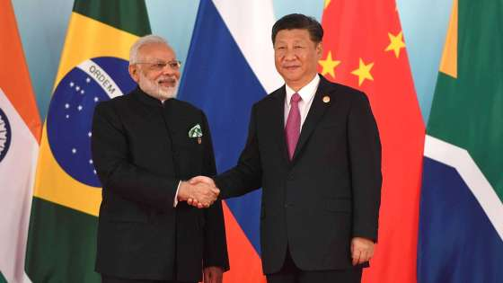 Prime Minister of India Narendra Modi and President of the People's Republic of China Xi Jinping before the beginning of the BRICS Leaders' meeting on September 4, 2017. (Image Credit: Russian Presidential Press and Information Office)