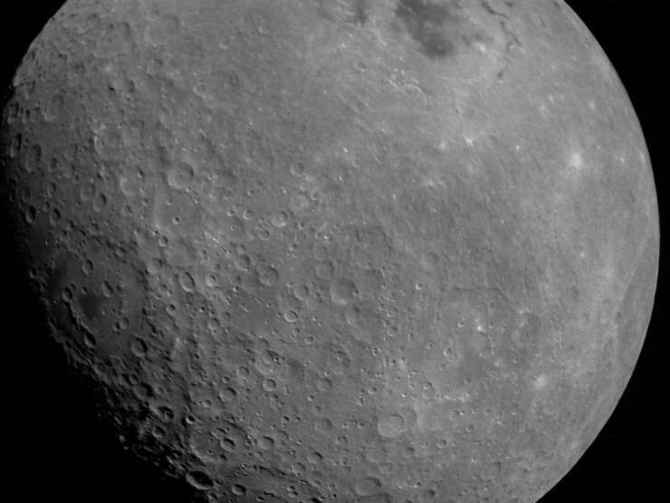 First photo of the moon from Chandrayaan-2 shows the Mare Orientale basin in the top right-of-center and the Apollo crater in the center-right of the image. (Image Credit: Indian Space Research Organization)