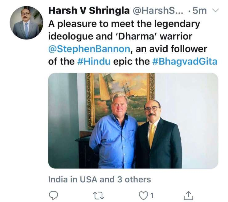 A screenshot of a tweet posted by Indian Ambassador to the United States Harsh Shringla with a photo of him standing with former Trump advisor and Breitbart executive chairman Steve Bannon.