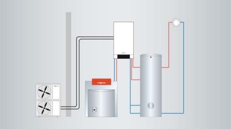 Schemat instalacji z Vitocal 250-S i modułem zewnętrznym, kotłem olejowym lub gazowym i zasobnikiem ciepłej wody użytkowej