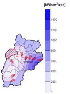 Potencjał techniczny energii wiatru na wysokości 60 metrów, zakreskowano teren gminy Lipowa. Źródło: opracowanie własne na podstawie Bujakowski i in. 2005.