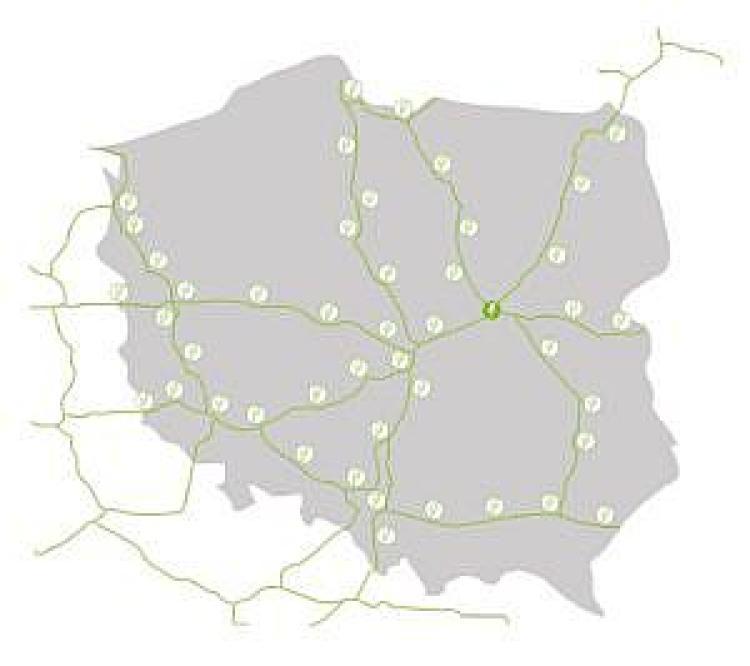 Planowane lokalizacje stacji ładujących samochody elektryczne w sieci Greenway