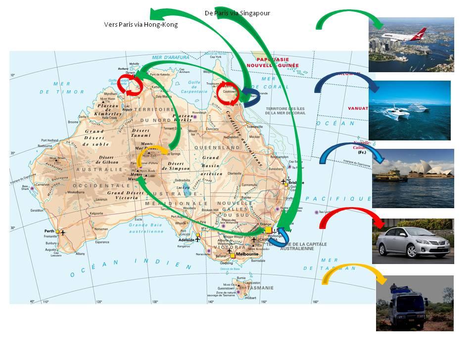 Australie - carte itinéraire juin 2010