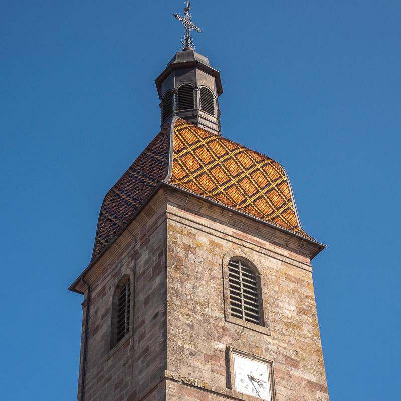 Clocher de l'église Saint-Laurent de Champagney en Franche-Comté