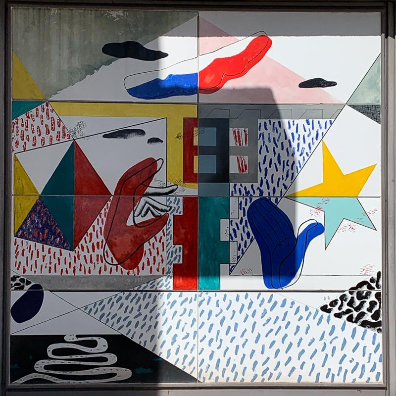 Franche-Comté, Ronchamp - Oeuvre de Le Corbusier sur la porte de la chapelle