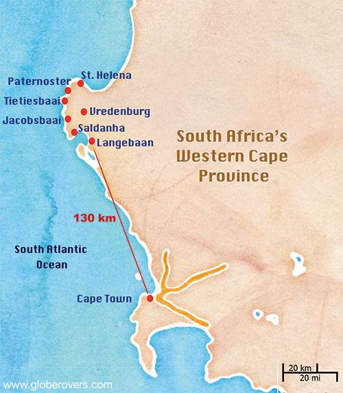 West Coast Map South Africa.West Coast Peninsula Of South Africa Globerovers
