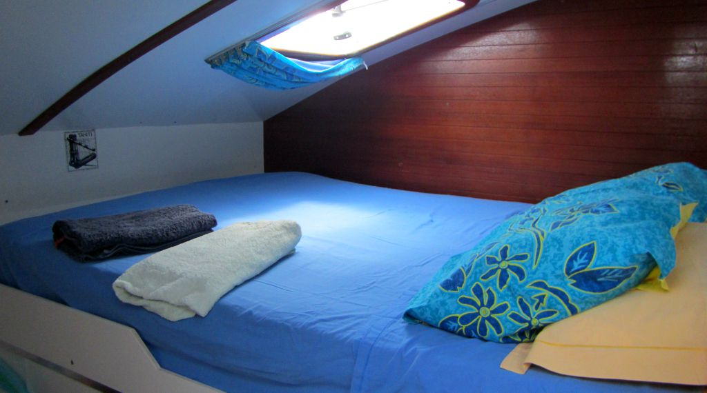 Sailing in San Blas Panama with kids: One of the cabins in our catamaran