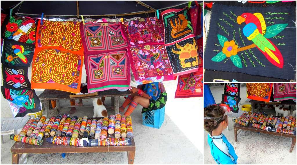 Kuna molas and jewellery for sale in San Blas, Panama