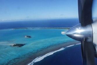 Aussicht beim Anflug auf Aitutaki über die Lagune
