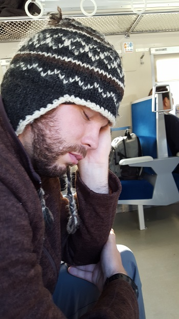 First train ride, Josh already asleep