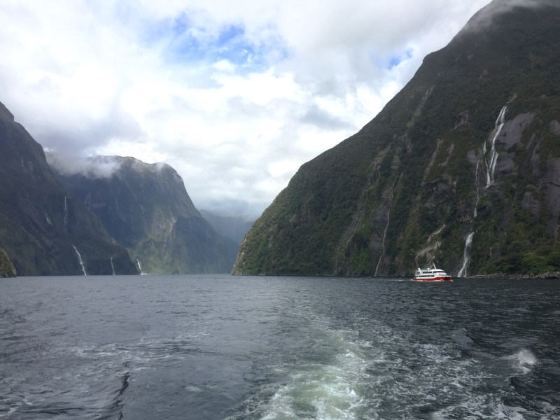 Wide shot, Milford Sound, Fiordland National Park, New Zealand