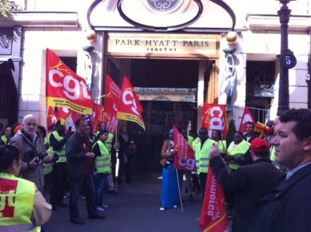 Strike in front of the Park Hyatt