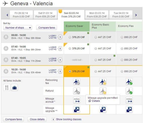 Lufthansa redesign fare search