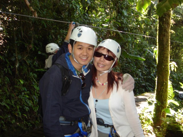 Ziplining through the rainforest in Costa Rica, 2003