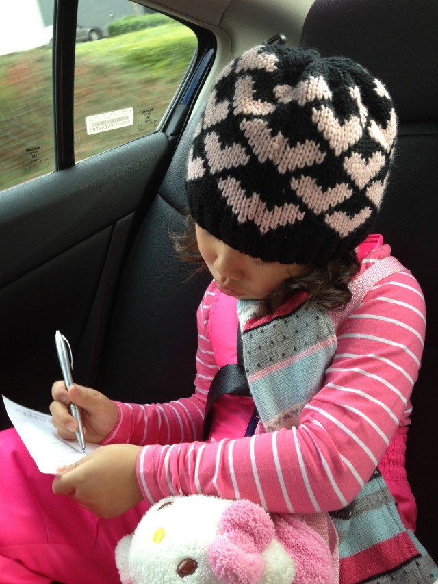 Drawing all the interesting things we saw along the car ride to Whistler, so that she could share with Brianne later on
