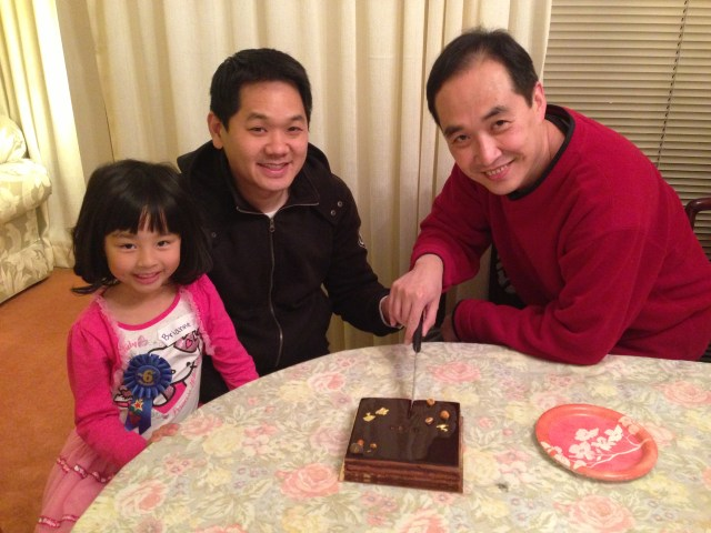 A double birthday celebration with a super decadent chocolate cake