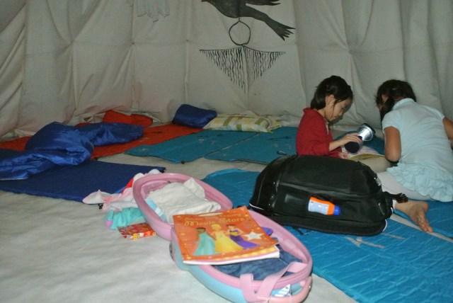 Inside the teepee