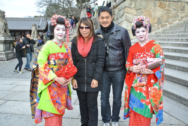 We thought they were real geishas, but later learned they were actually tourists from Hong Kong pretending to be geishas....