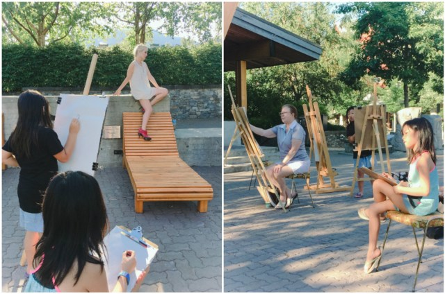 Spontaneously came across an art festival at Whistler Village, and the girls got to try sketching a live model.