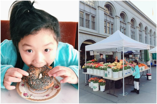 """After watching the sunrise, we ate the """"best bagel ever"""" at 20th Century Cafe and got to stroll around Farmer's Market"""