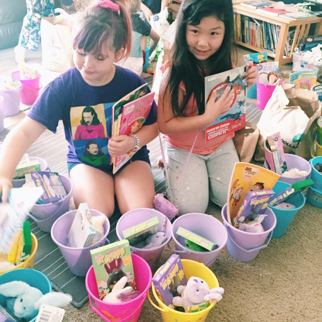 Putting together Easter baskets for families living in homeless shelters in San Jose