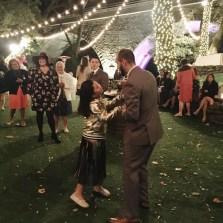 Bridge dancing with the groom