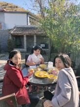 Breakfast at our beautiful villa by the Great Wall