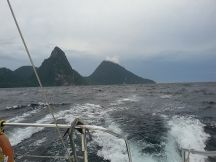 This is the traveler's dilemma: Sometimes you just can't get the perfect shot. The two Pitons became the one and a half Pitons