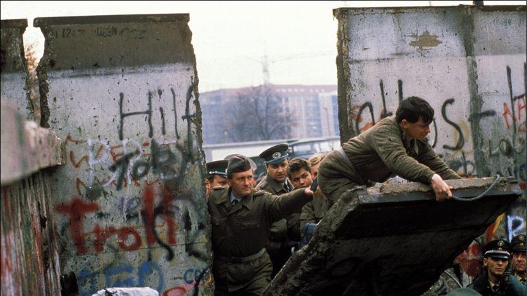 The Berlin Wall opening in Berlin, Germany on November, 1989-