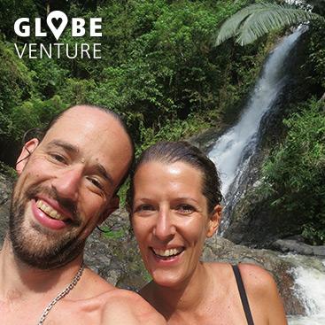 Wasserfall-Selfie