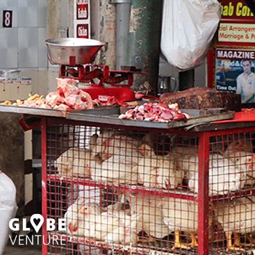 Dehli, Indien Fleisch auf der Straße