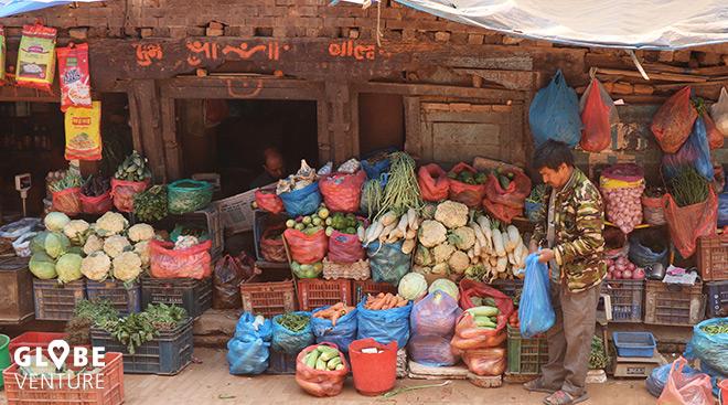Bakthapur Nepal Gemüsestand