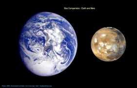 Earth and Mars Size Comparision Photo: ISRO-India