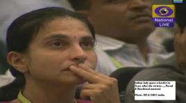 Lady indian scientist in tears after victory...Emotional moment for all indian space scients who worked hard to create this history