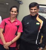 Saina with her proud Indian coach Mr. Vimal Kumar