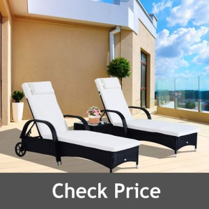 Outsunny 3 Piece Adjustable Chaise Lounge Chair