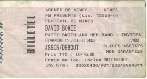 David Bowie aux arènes de Nîmes en 2002